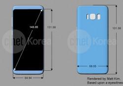 រូបរាង Galaxy S8 និង S8 Plus ត្រូវបានបែកធ្លាយជាមួយនឹងអេក្រង់កំរិត 18:9 Aspect Ratio និងមានប្រព័ន្ធស្កែនក្រយ៉ៅដៃនៅពីក្រោយ